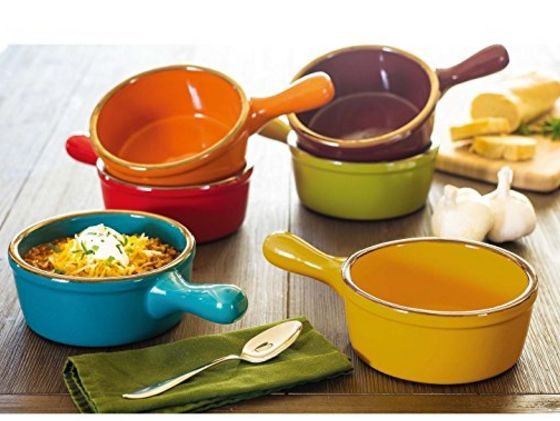 6 Piece Set of Stoneware Soup Bowls with Handles