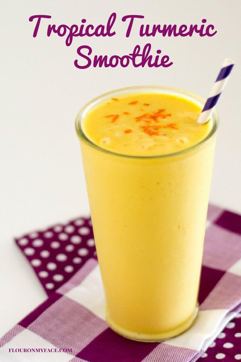 Tropical Turmeric Smoothie recipe made with coconut milk via flouronmyface.com