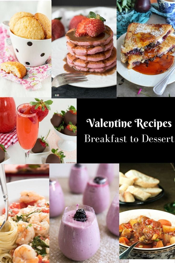Valentine Recipes from Breakfast to dessert roundup via flouronmyface.com