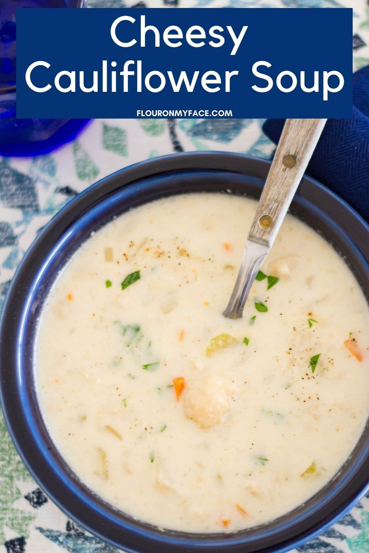 Close up of a bowl of cauliflower soup.