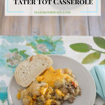 Crock Pot Slow Cooker Tater Tot Casserole recipe via flouronmyface.com