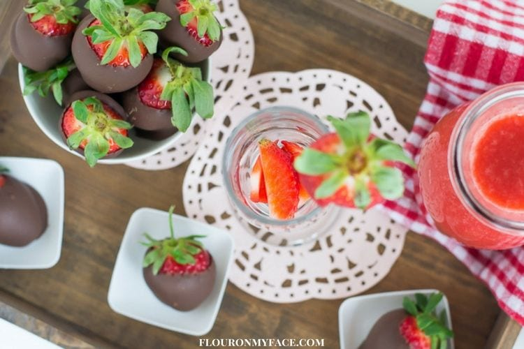 Strawberries and Champagne for Valentines Day via flouronmyface.com