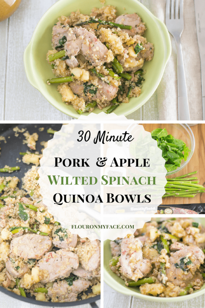 30 Minute Pork Apple Wilted Spinach Quino Bowls recipe via flouronmyface.com