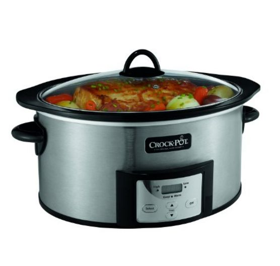 6-Quart Crock-Pot Programmable Cook and Carry Oval Slow Cooker-Stainless Steel