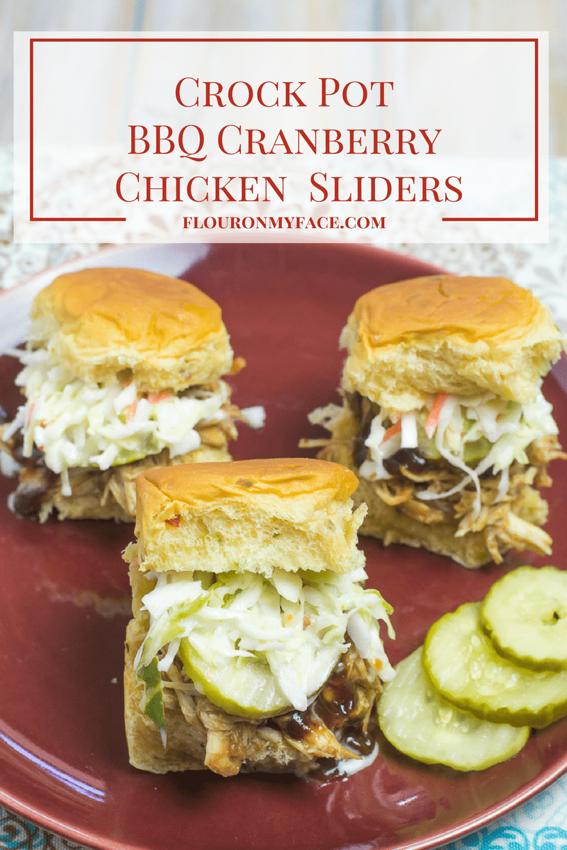 Easy 3 ingredient slow cooker recipe for Crock Pot BBQ Cranberry Chicken Sliders via flouronmyface.com