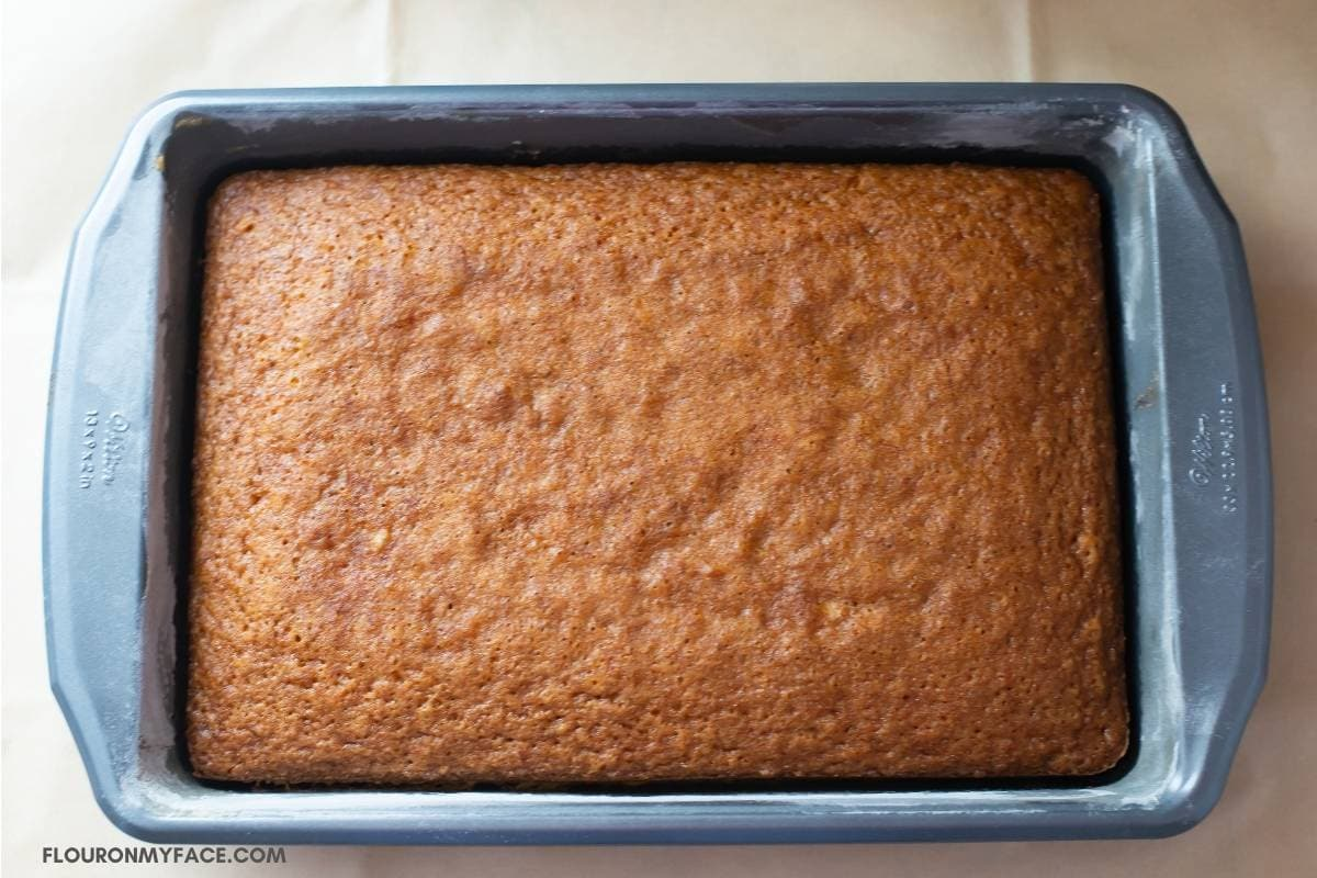 A fresh baked Carrot sheet cake in the pan.