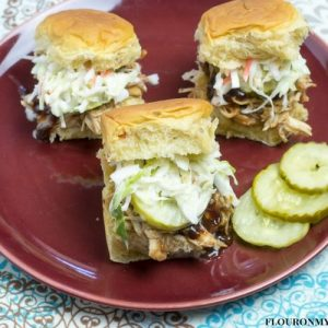 A plate of BBQ Cranberry Chicken sliders.