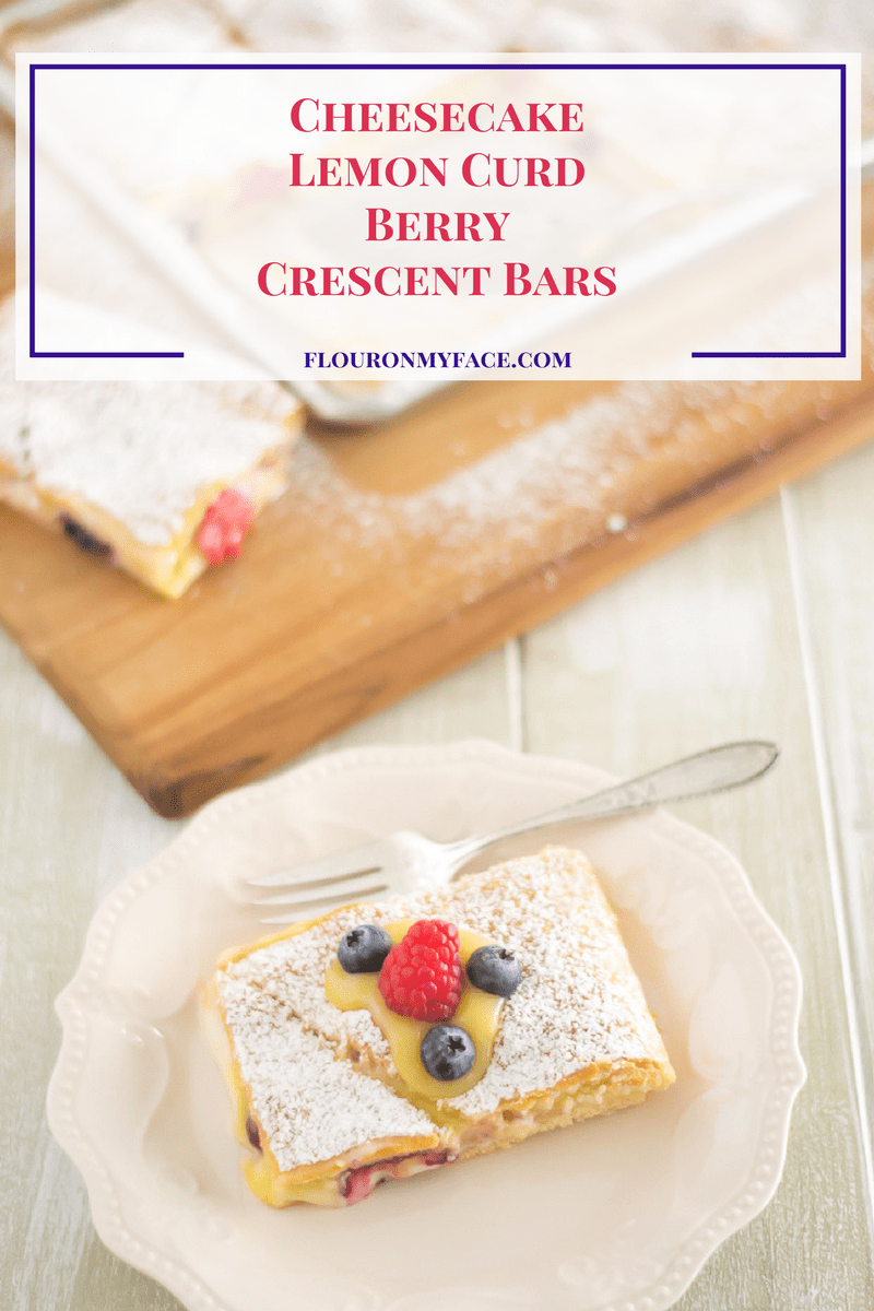 Cheesecake Lemon Curd Berry Crescent Bars via flouronmyface.com
