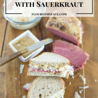 Corned Beef on Rye with Sauerkraut via flouronmyface.com