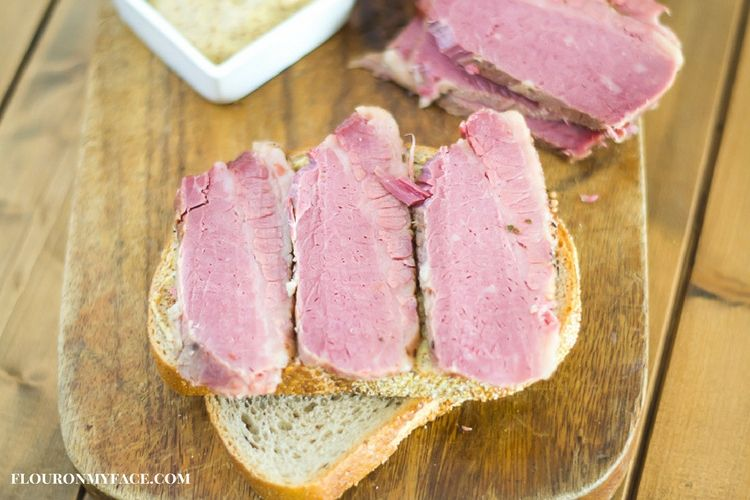 Corned Beef sandwich on rye bread via flouronmyface.com