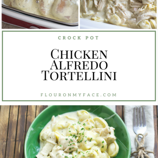 Crock Pot Creamy Chicken Alfredo Tortellini recipe is perfect for busy Mom's who don't have much time in the kitchen via flouronmyface.com