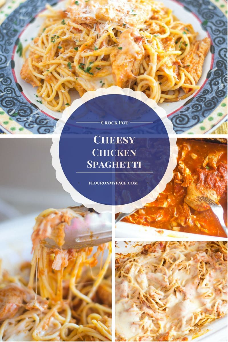 Crock Pot Cheesy Chicken Spaghetti topped with mozzarella cheese is a perfect budget friendly family dinner recipe that you should be on your meal planning
