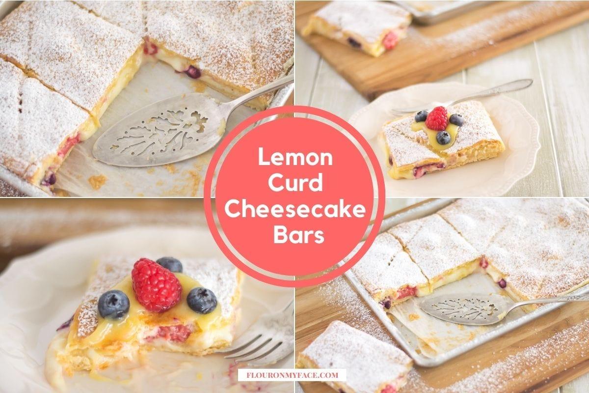 Lemon curd cheesecake bars collage photo.