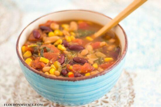 Slow cooker bean soup recipe via flouronmyface.com