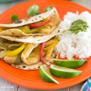 Easy Mango Chicken Tacos via flouronmyface.com