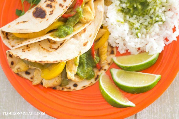 Mango Chicken Tacos with Cilantro Green Rice via flouronmyface.com