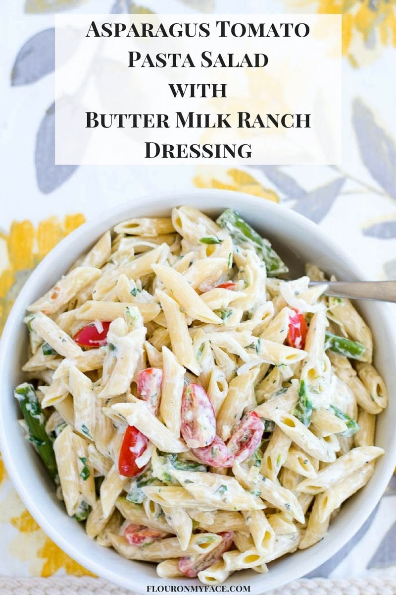 Asparagus Tomato Pasta Salad with Buttermilk Ranch Dressing recipe via flouronmyface