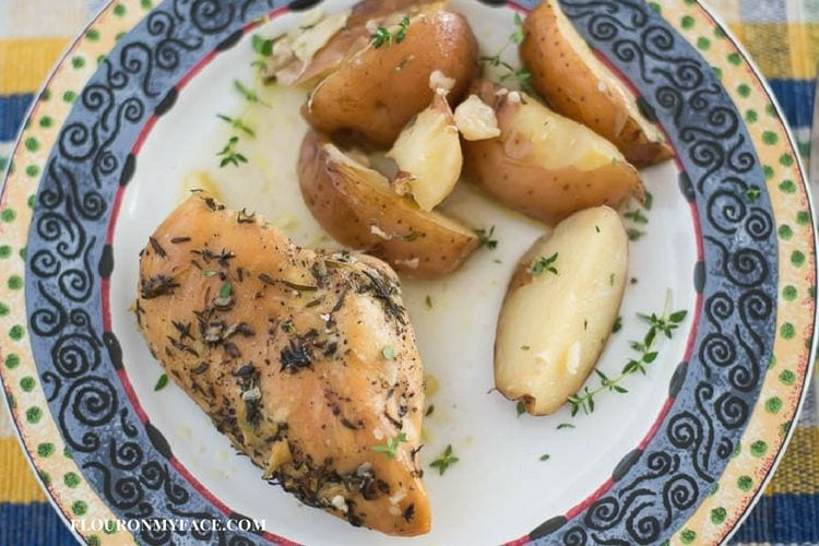 Crock Pot Chicken and Potatoes recipe via flouronmyface.com