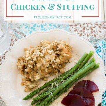 Crock Pot Chicken Stuffing Recipe via flouronmyface.com