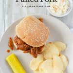 Crock Pot Pulled Pork Sandwich served with my homemade sweet coleslaw recipe.