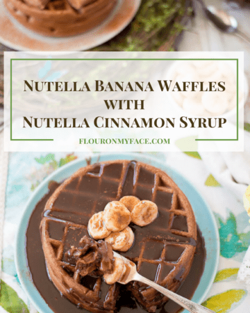 Nutella Banana Waffles with Nutella Cinnamon Syrup is the perfect recipe for Mother's Day breakfast or brunch. This special waffle recipe will show Mom just how special she is on Mother's Day via flouronmyface.com