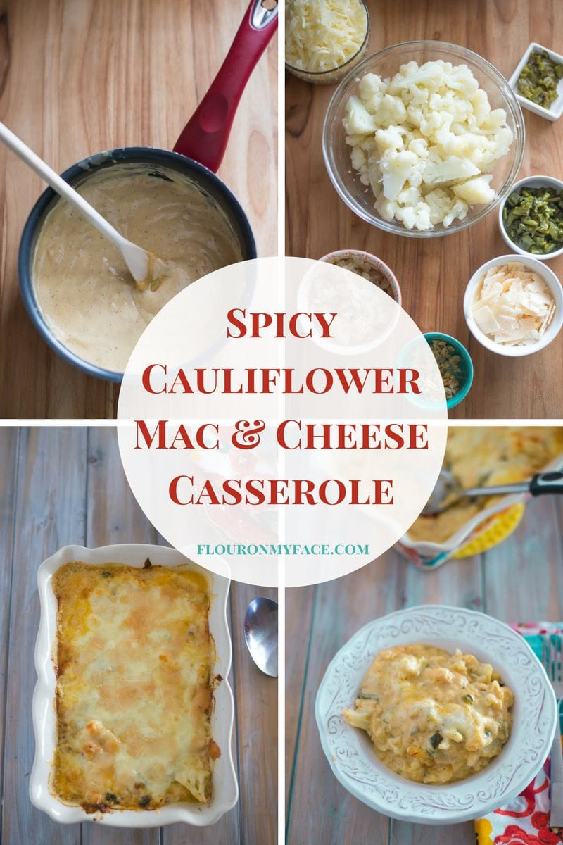 Spicy Cauliflower Macaroni and Cheese recipe made with homemade cheese sauce and roasted peppers