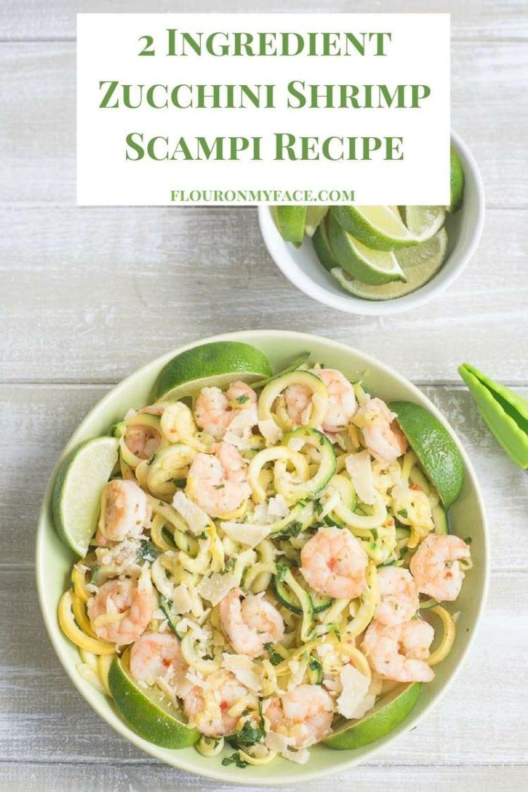 2 Ingredient Zucchini Shrimp Scampi recipe with fresh lime wedges via flouronmyface.com