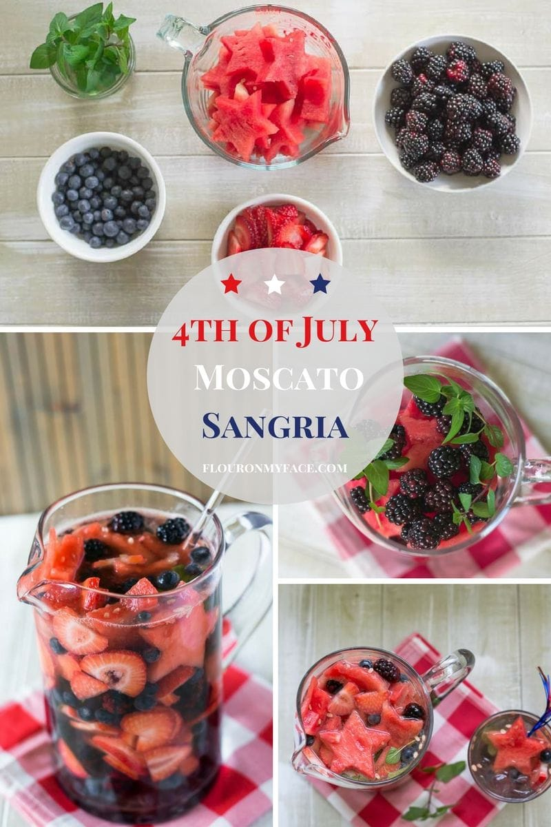 East 4th of July Moscato Sangria recipe collage with step by step photos of ingredients via flouronmyface
