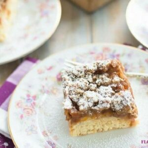 Apricot Struesel Crumb Cake slice on a vintage floral