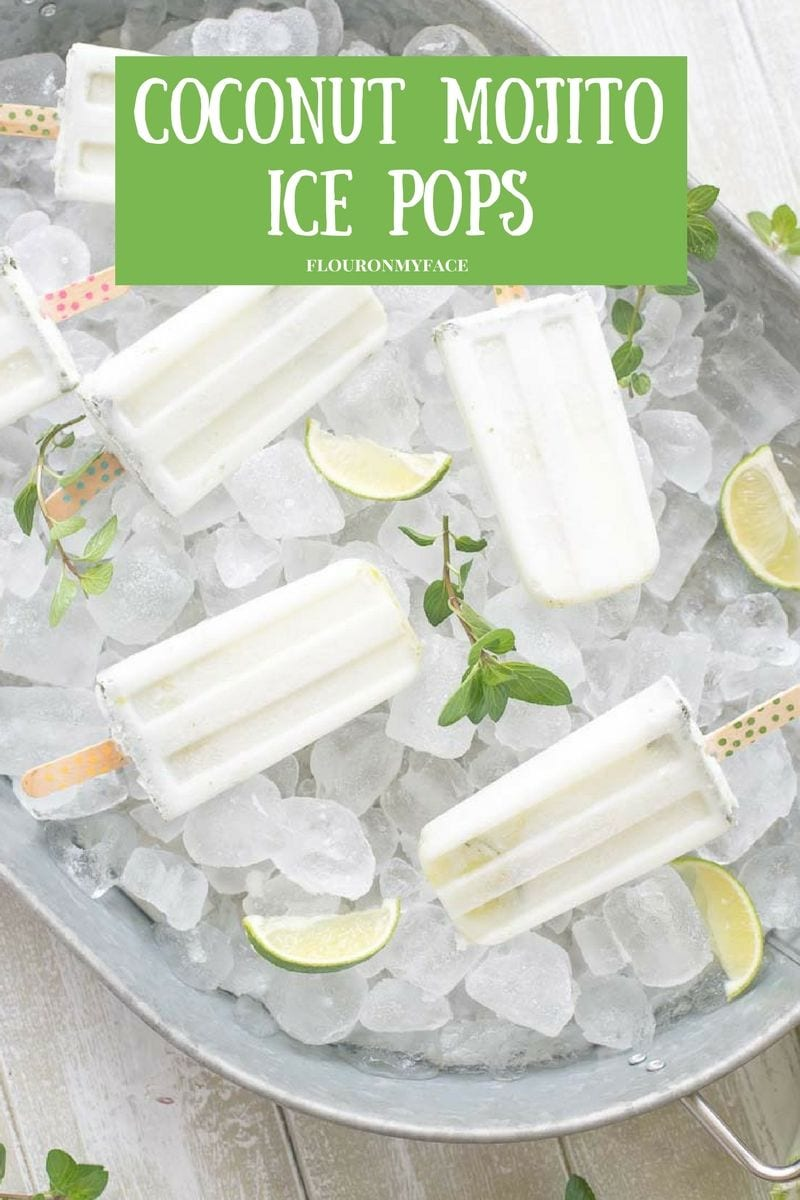 A Creamy Coconut Mojito Ice Pops recipe is a great way to serve your favorite Coconut Mojito cocktail on a stick. via flouronmyface.com