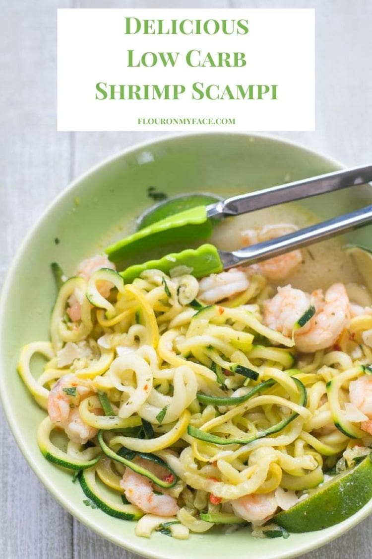 Delicious Low Carb Shrimp Scampi recipe made with SeaPak Shrimp Scampi, Spiralized Zucchini and Spiralized Yellow Squash served with a sprinkle of fresh Parmesan cheese and fresh lime wedges via flouronmyface.com #ad
