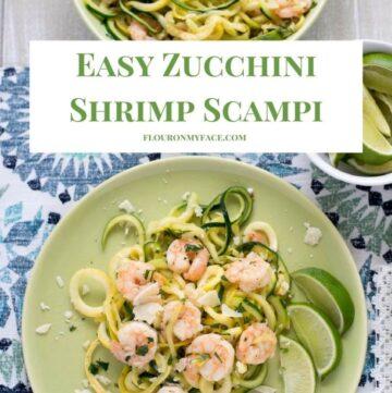 Easy Zucchini Shrimp Scampi recipe via flouronmyface.com