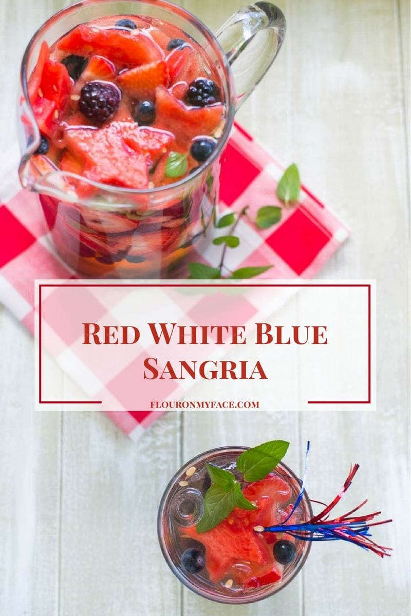 This Red White Blue Sangria recipe is the perfect patriotic 4th of July cocktail you can serve the adults at your summer barbecue. via flouronmyface.com