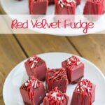 Bite-sized squares of homemade red velvet fudge