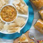 Caribbean Fruit Salsa recipe served with chips via flouronmyface.com