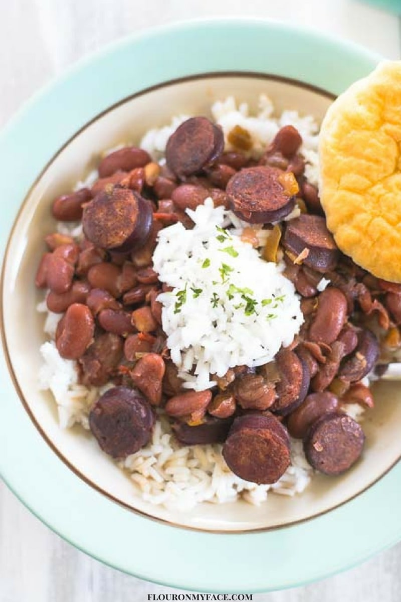 New Orleans Crock Pot Red Beans and Rice recipe via flouronmyface.com