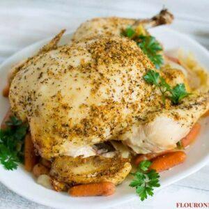 Crock Pot Whole Chicken Rotisserie Style via flouronmyface.com