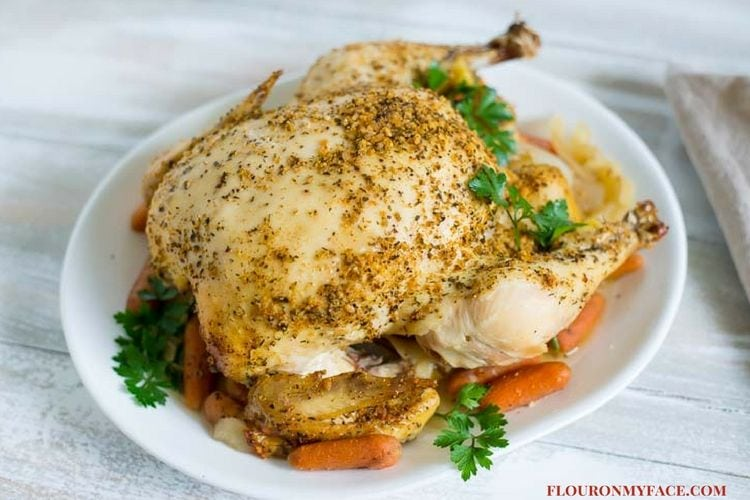 Crock Pot Whole Chicken Rotisserie Style via flouronmyface.com