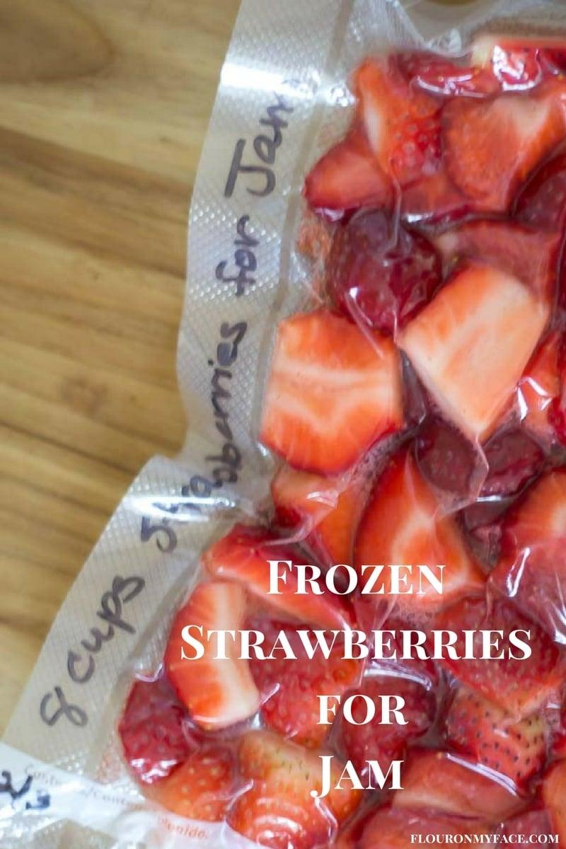 How to Frozen Strawberries for Jam recipe with a FoodSaver via flouronmyface.com