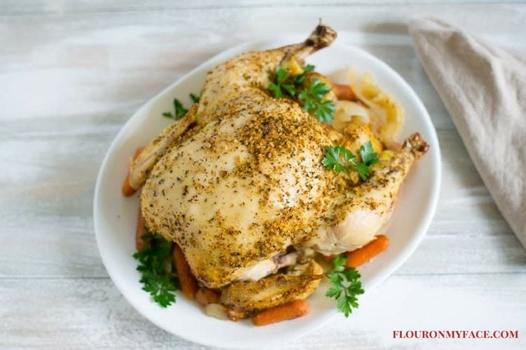 How To Make Crock Pot Whole Chicken via flouronmyface.com