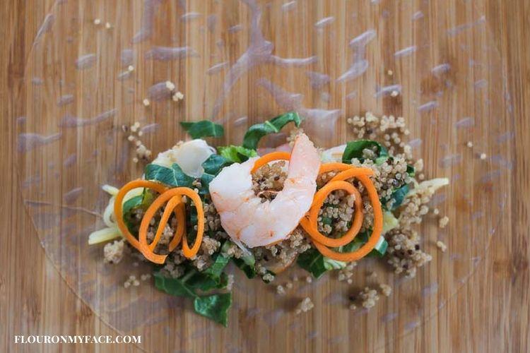 Making Shrimp Spring Rolls with Quinoa.