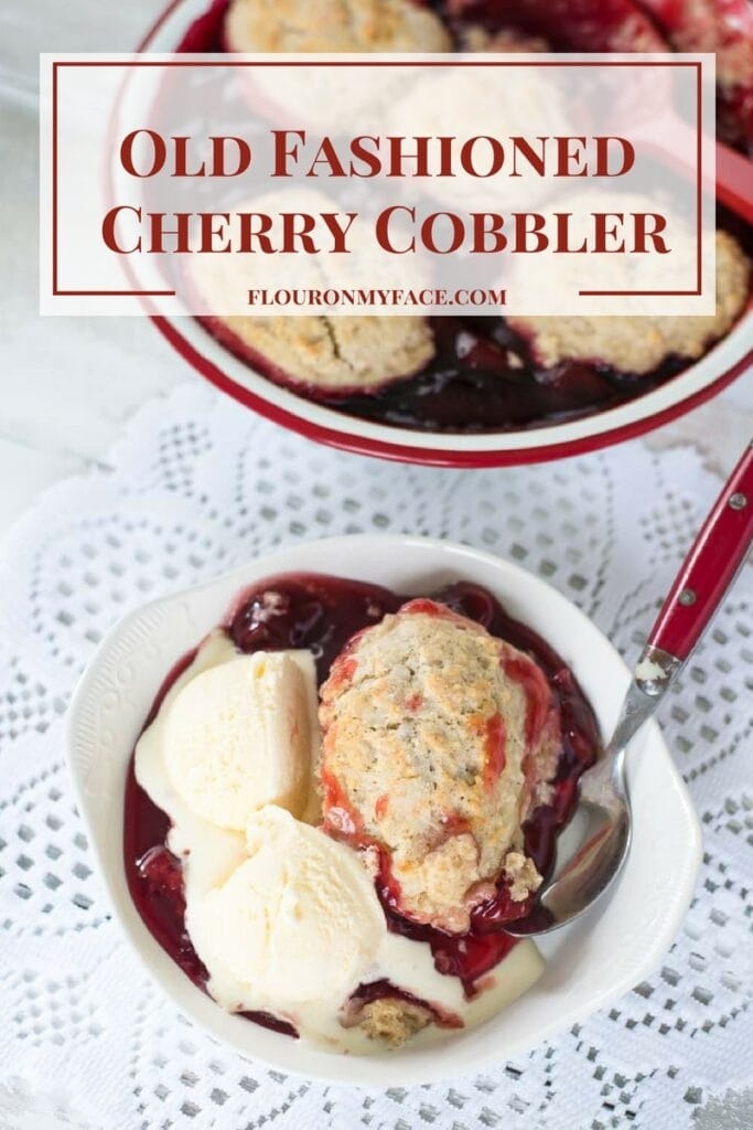 Old Fashioned Cherry Cobbler recipe just like Grandma made when you visited her during the summer via flouronmyface.com