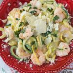 Zucchini Shrimp Scampi Alfredo is a very easy low carb shrimp recipe made with zucchini noodles.