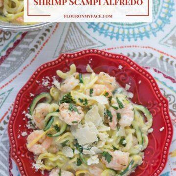 Zucchini Shrimp Scampi Alfredo recipe via flouronmyface.com