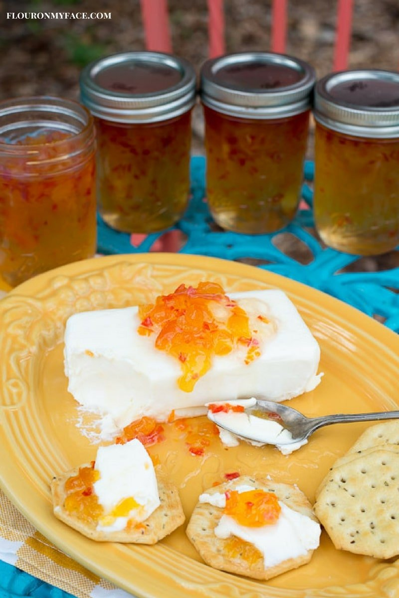 Easy Holiday Appetizer recipe Cream Cheese with Habanero Jelly and crackers via flouronmyface.com