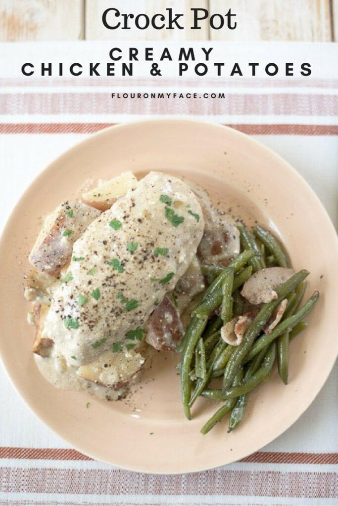 Crock Pot Creamy Chicken Potatoes recipe via flouronyface.com