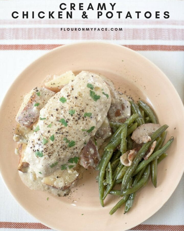 Crock Pot Creamy Chicken Potatoes recipe via flouronyface.com