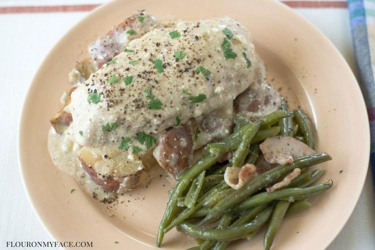 Crock Pot Creamy Chicken recipe via flouronmyface.com