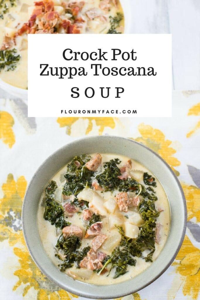 Copycat Olive Garden Crock Pot Zuppa Toscana recipe via flouronmyface.com