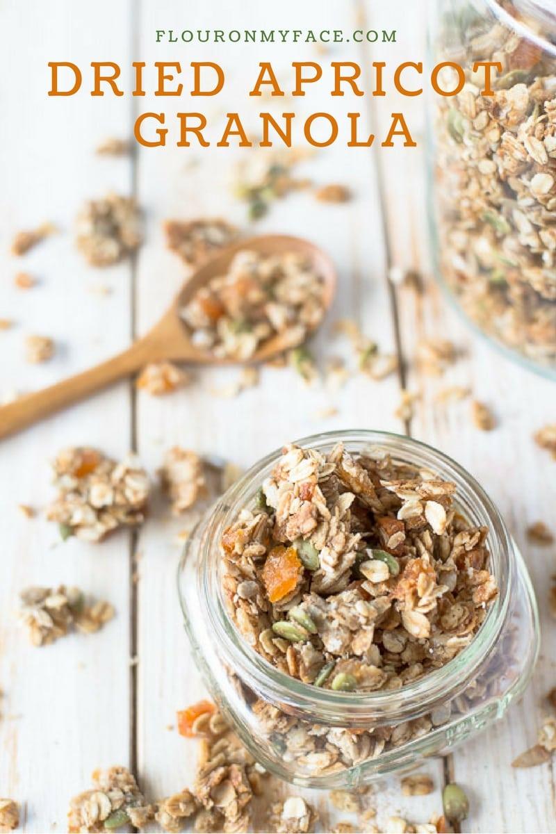 Dried Apricot Granola Recipe via flouronmyface.com